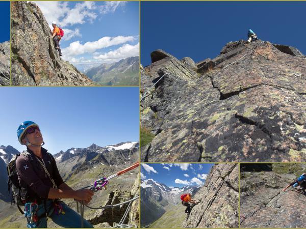 Alpinklettern in Bereich der Hütte!